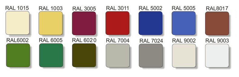 Профнастил Прушински RAL 3005 8017 6005