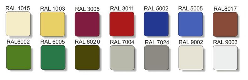 Металлочерепица Польша РАЛ RAL 3005 8017 6005